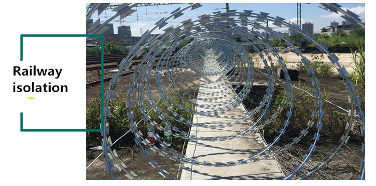 Razor barbed wire railway isolation