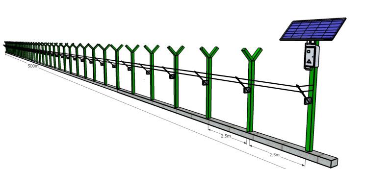 Electronic fence solar panel