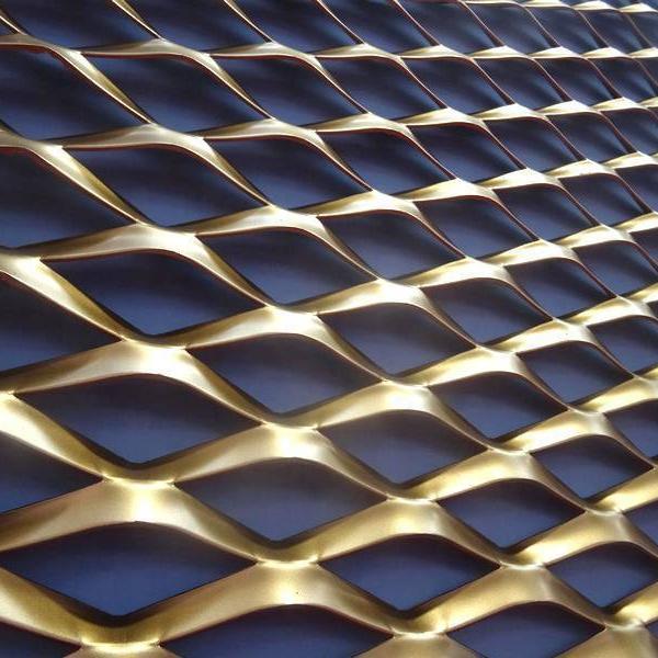 Raised copper expanded decorative mesh panels